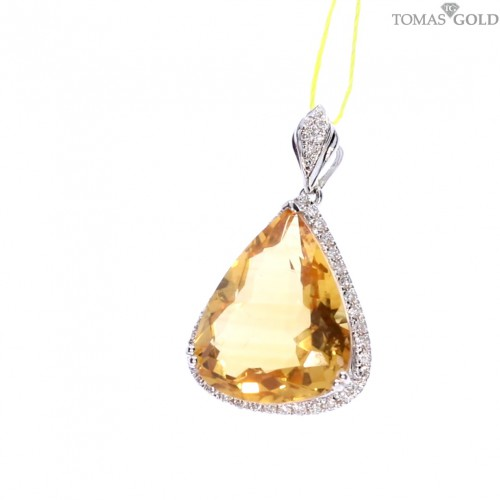 Golden pendant with precious stones